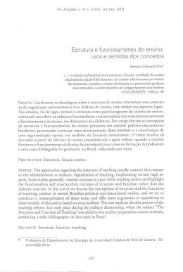 Estrutura e funcionamento do ensino: usos e - Pro