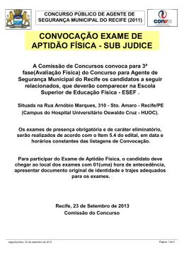 Convocação Exame de Aptidão Física - sub judice