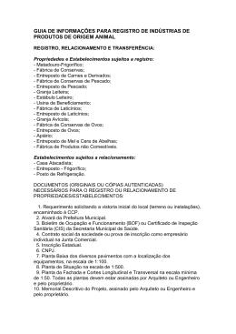 GUIA DE INFORMAÇÕES PARA REGISTRO DE INDÚSTRIAS DE
