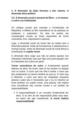 3. A dimensão da Ação Humana e dos valores. A