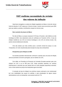 UGT reafirma necessidade da revisão dos valores da inflação