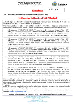 Alerta Nº2 da Vigilância Sanitária sobre Notificação de Receita