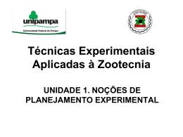 Técnicas Experimentais e Aplicadas à Zootecnia