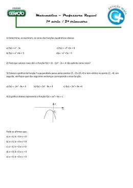 Matemática – Professora Raquel 1ª série / 2º trimestre