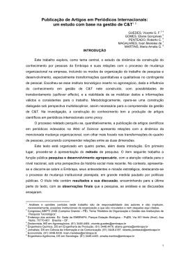Publicação de Artigos em Periódicos Internacionais