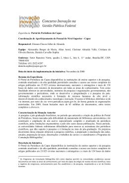 Portal de Periódicos da Capes Coordenação de Aperfeiçoamento