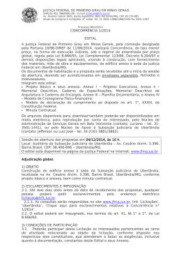 CONCORRÊNCIA 1/2014 EDITAL A Justiça Federal de Primeiro