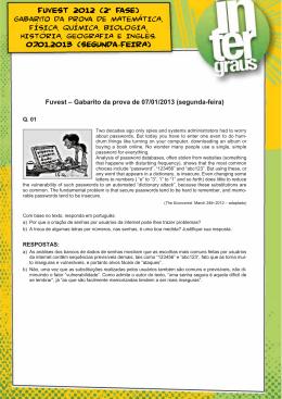 FUVEST 2012 (2ª Fase) 07.01.2013 (Segunda-FEIRA)