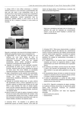 Lista de exercícios sobre Evolução 3º ano/ Prof. Karina