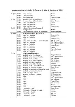 Cronograma das Atividades de Pastoral do Mês de Outubro de
