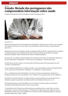 Metade dos portugueses não compreendem informação sobre saúde