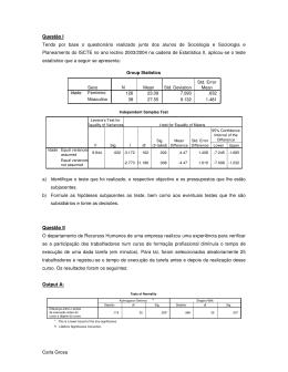 Exemplos de Exercícios sobre Testes Paramétricos