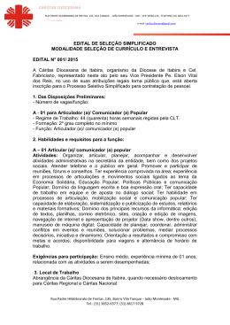 EDITAL Cáritas Diocesana