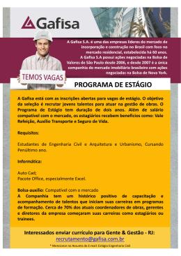 TEMOS VAGAS - Cartaz Gafisa 2014