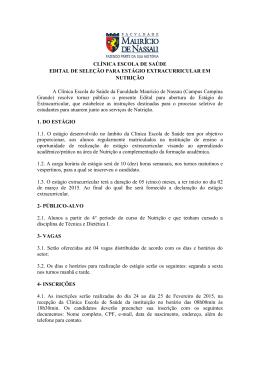 CLÍNICA ESCOLA DE SAÚDE EDITAL DE SELEÇÃO PARA