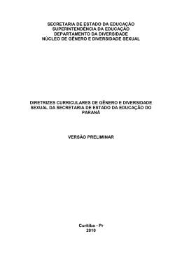 Diretrizes Curriculares de Gênero e Diversidade Sexual