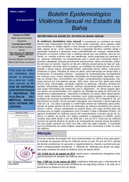 Boletim Epidemiológico Violência Sexual no Estado da Bahia
