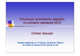 Processos envolvendo julgados no primeiro semestre 2015 Crimes