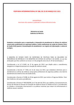 Portaria Interministerial nº 288/2015