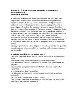 Debate 5 - A Organização da educação profissional e