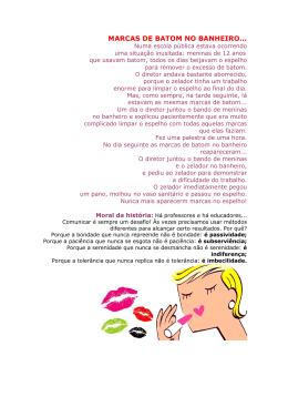 MARCAS DE BATOM NO BANHEIRO