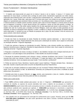 Temas para trabalhos referentes à Campanha da Fraternidade