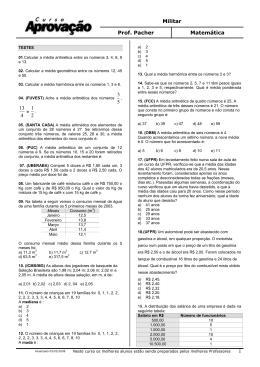 Militar Prof. Pacher Matemática 1 3 5 13 4 1 2