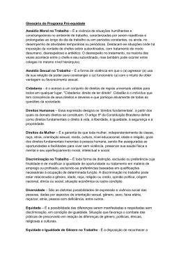 Glossário do Programa Pró-equidade Assédio Moral no