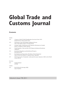 Global Trade and Customs Journal Contents