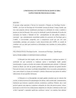 A PSICOLOGIA NO CONTEXTO ESCOLAR DE GUAÍBA