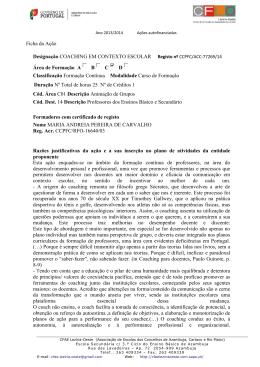 Ficha da Ação Designação COACHING EM CONTEXTO ESCOLAR