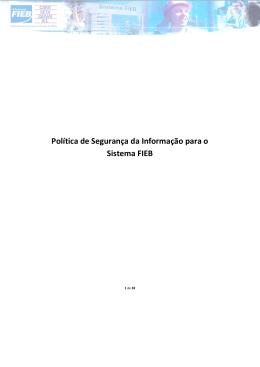 Política de Segurança da Informação para o Sistema FIEB