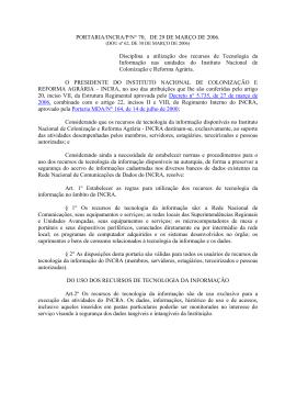 Portaria/INCRA/P/N° 70, DE 29/03/2006