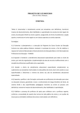 PROJETO DE LEI 8035/2010 EMENDA