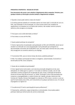 PERGUNTAS E RESPOSTAS – BOLSAS DE ESTUDO Este