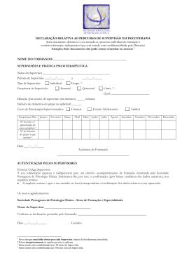 Formulário da Declaração de Supervisão - SPPC
