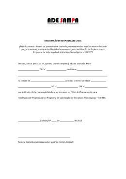 DECLARAÇÃO DE RESPONSÁVEL LEGAL (Este documento