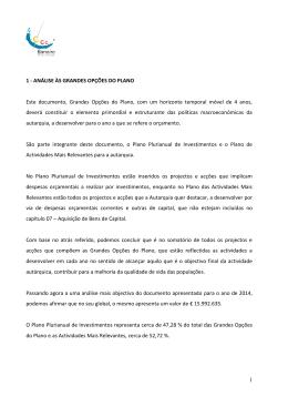 1 1 - ANÁLISE ÀS GRANDES OPÇÕES DO PLANO Este documento
