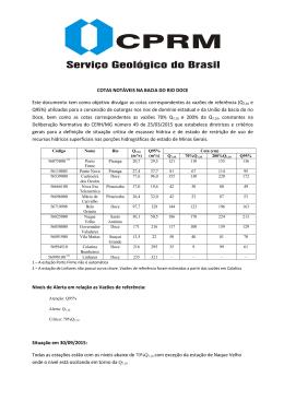 COTAS NOTÁVEIS NA BACIA DO RIO DOCE Este documento tem
