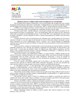 PROJETO SOCIAL CORRE O RISCO DE ENCERRAR SUAS