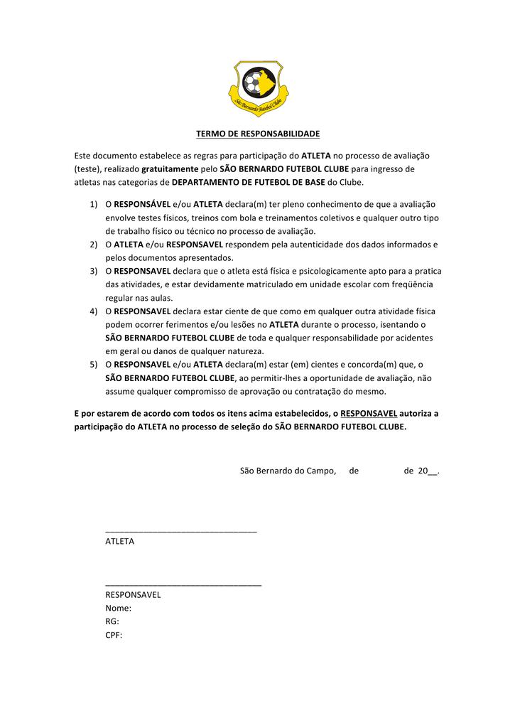 TERMO DE RESPONSABILIDADE Este documento estabelece as 382a61ccf5f98