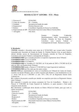 RESOLUÇÃO Nº 1429/2004 – TCE - Pleno