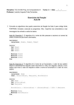 Exercícios de Fixação Aula 08 - Instituto de Computação