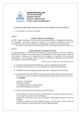 Colégio Marista São José Exercícios de Fixação Disciplina: História