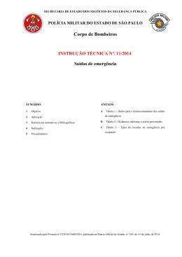 INSTRUÇÃO TÉCNICA Nº 11/2014