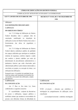 CÓDIGO DE EDIFICAÇÕES DO DISTRITO FEDERAL