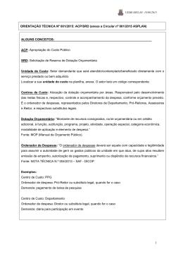 1 ORIENTAÇÃO TÉCNICA Nº 001/2015: ACP/SRD (anexa a