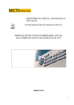 Veja o documento completo do Relatório de Gestão 2013
