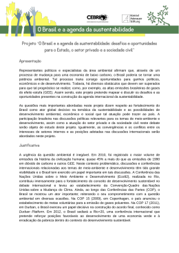 Projeto `O Brasil e a agenda da sustentabilidade: desafios e