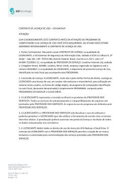 contrato de licença de uso – ufa backup. atenção: leia